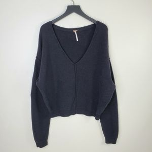 Free People Popcorn Cropped Pullover Knit Sweater